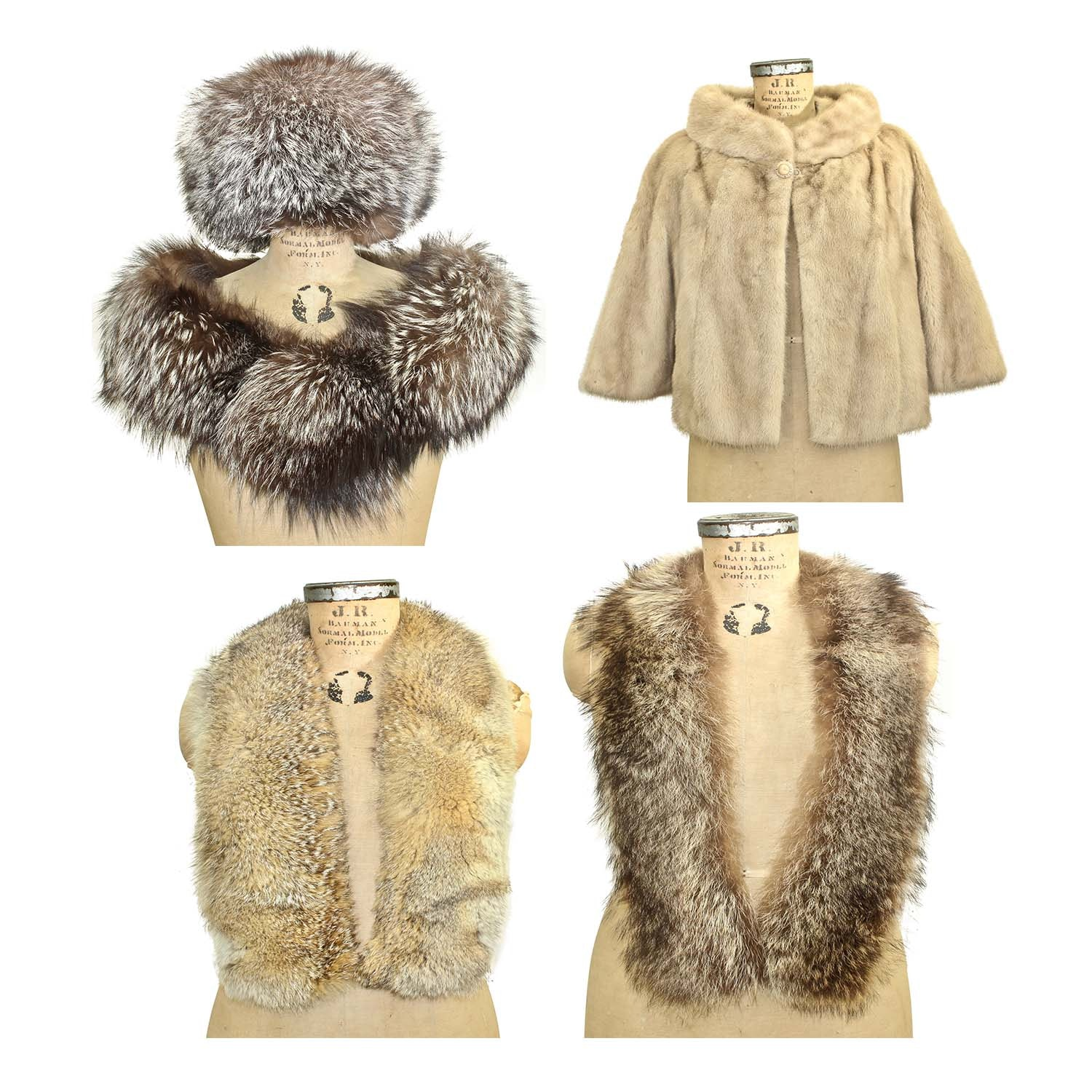 Mink Fur Stole, Fox Fur Hat and Shoulder Wrap with Raccoon and Coyote Fur Stoles