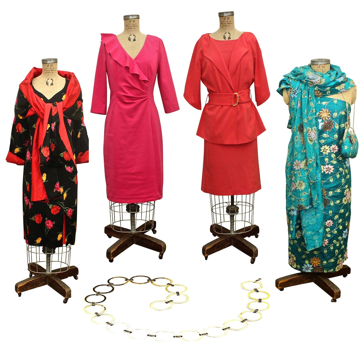 Women's Fashion Dresses Including Kay Unger and a St. John Gold Tone Link Belt