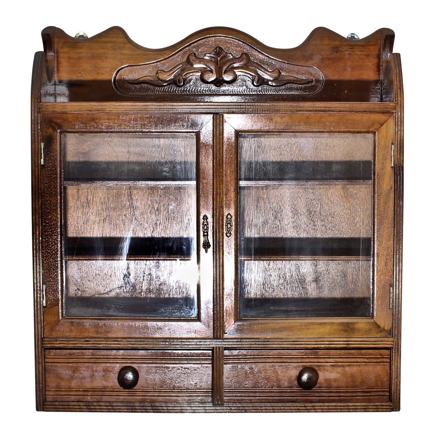 Victorian Style Mahogany Wall Mount Display Cabinet, Late 20th Century