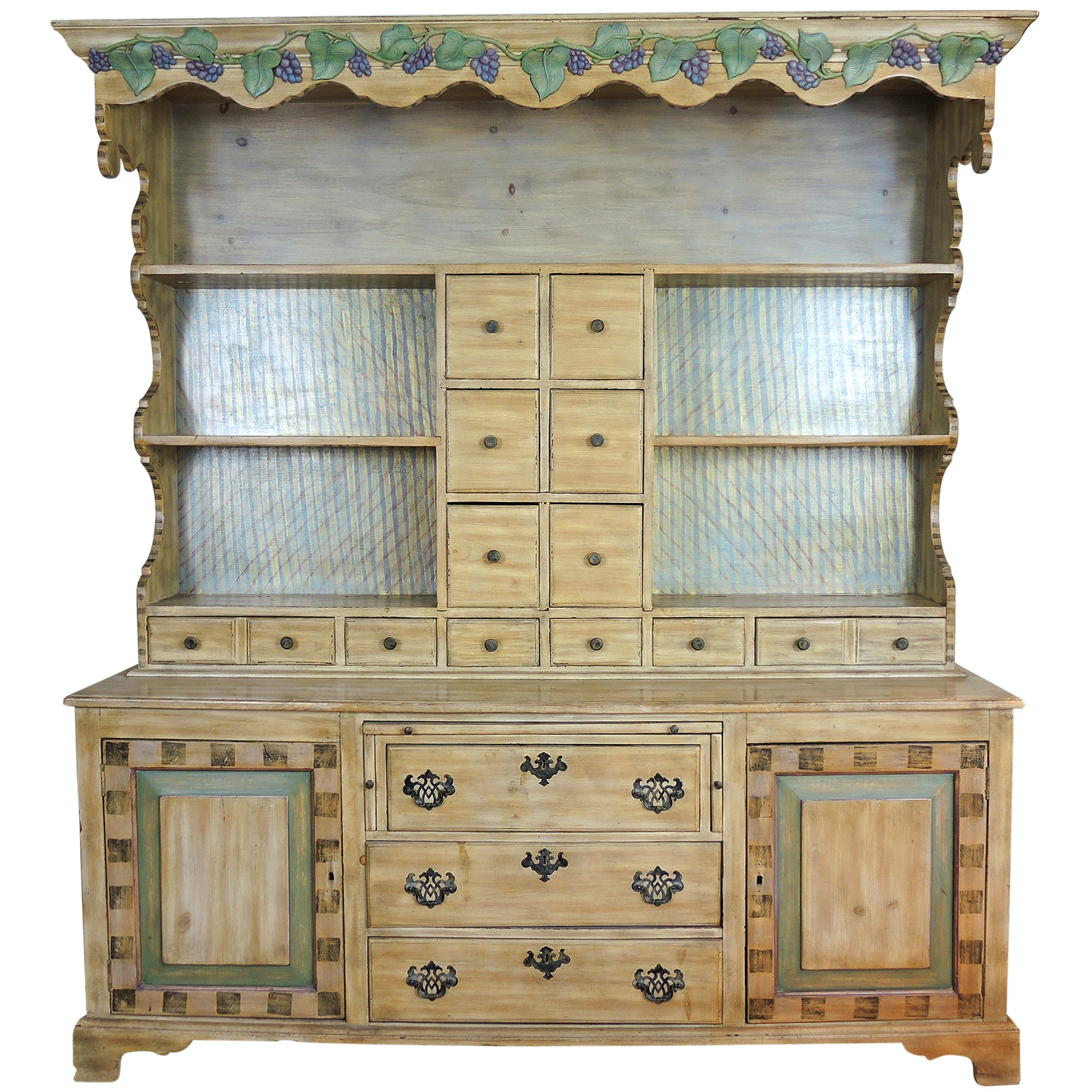 Painted Cabinet with Hutch