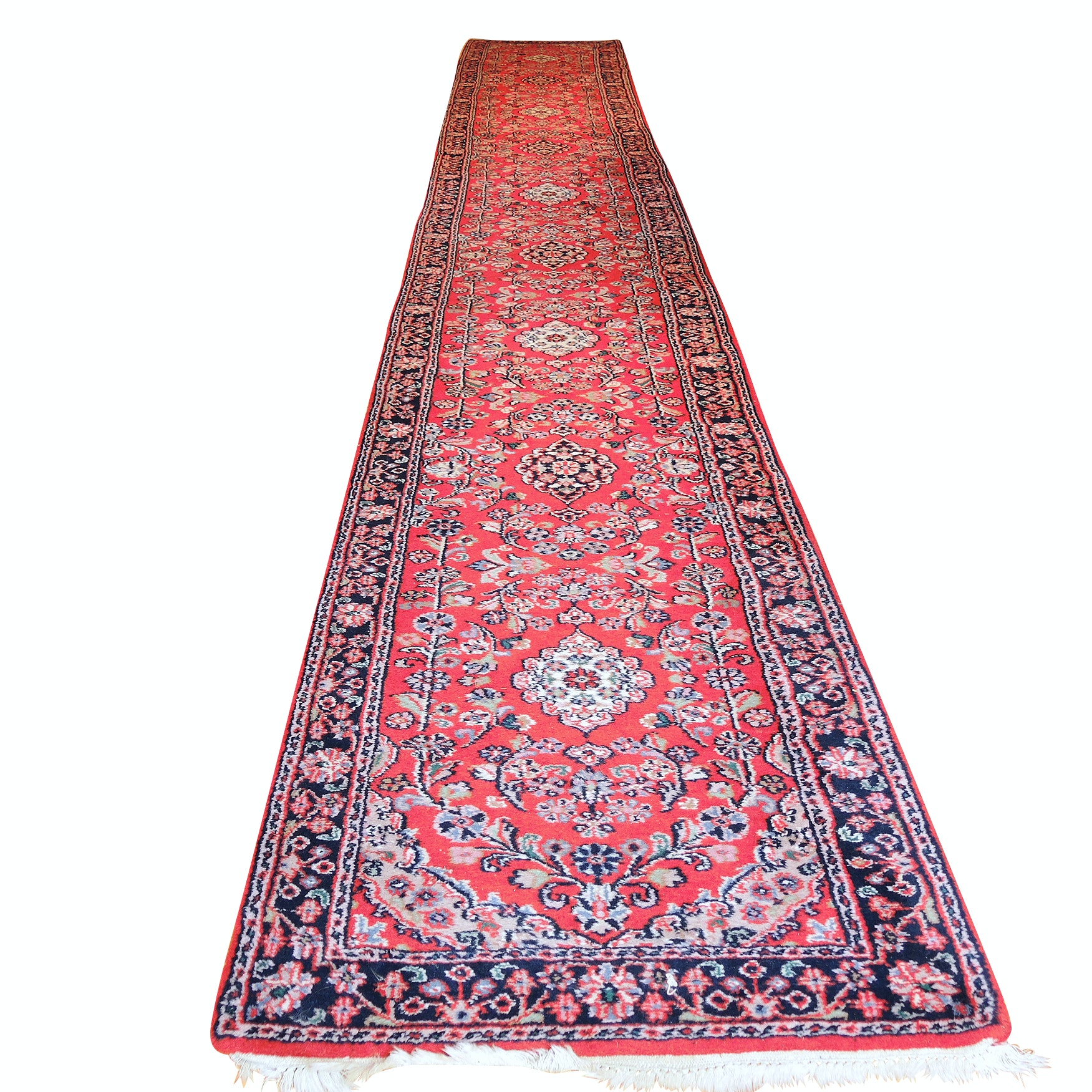Finely Hand-Knotted Indo-Persian Meshed Wool Stair or Carpet Runner