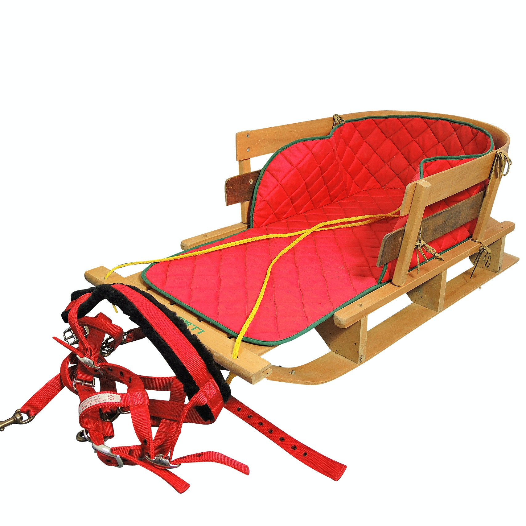 Vintage L. L. Bean Wooden Sled with Dog Harness