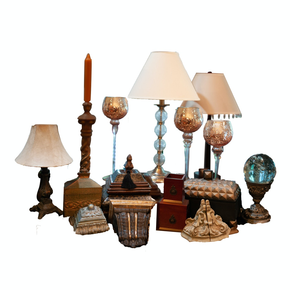 Decorative Boxes, Candlesticks and Lamps