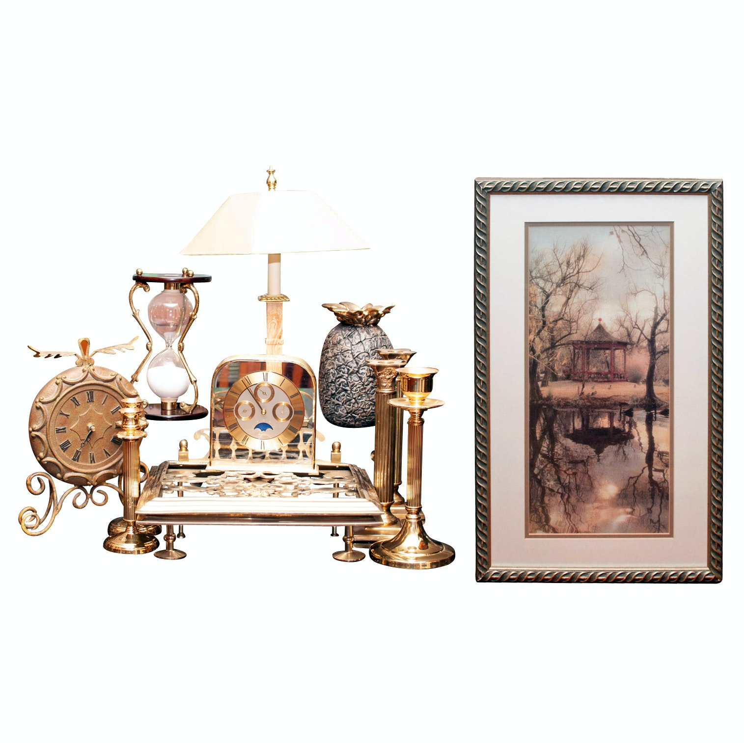 Home Decor including Desk Clock, Candlesticks and Lamp