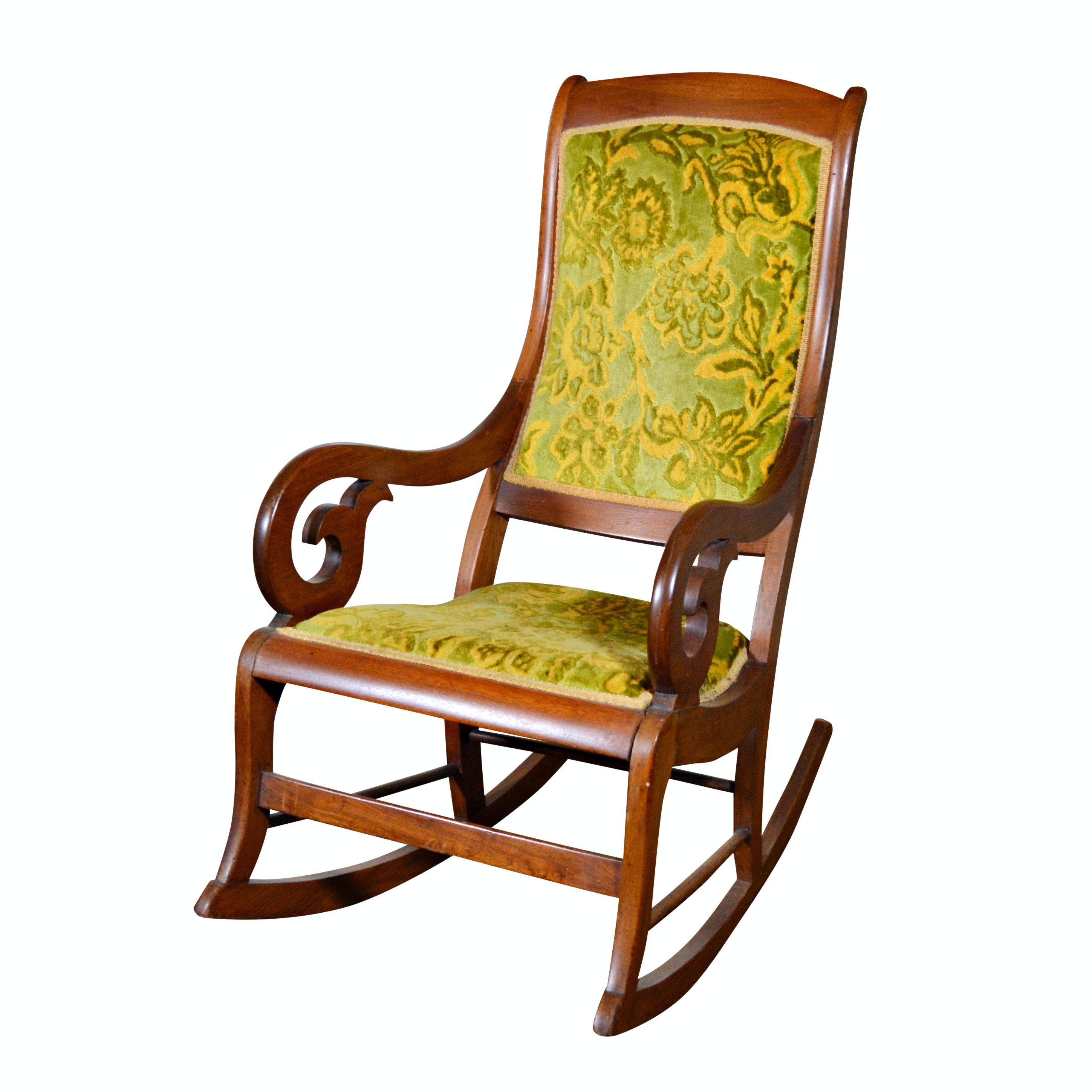 Empire Style Walnut Rocking Chair, Early 20th Century