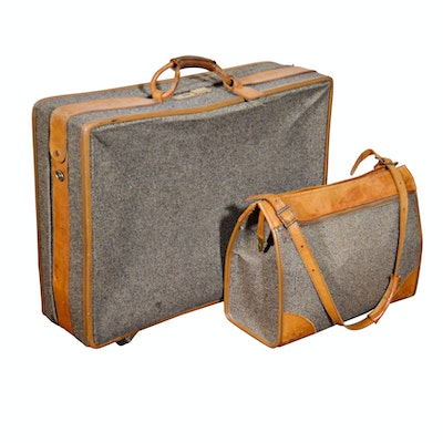 a8f759378de9 Vintage Hartmann Tweed Wool and Leather Luggage and Carry-On Bag