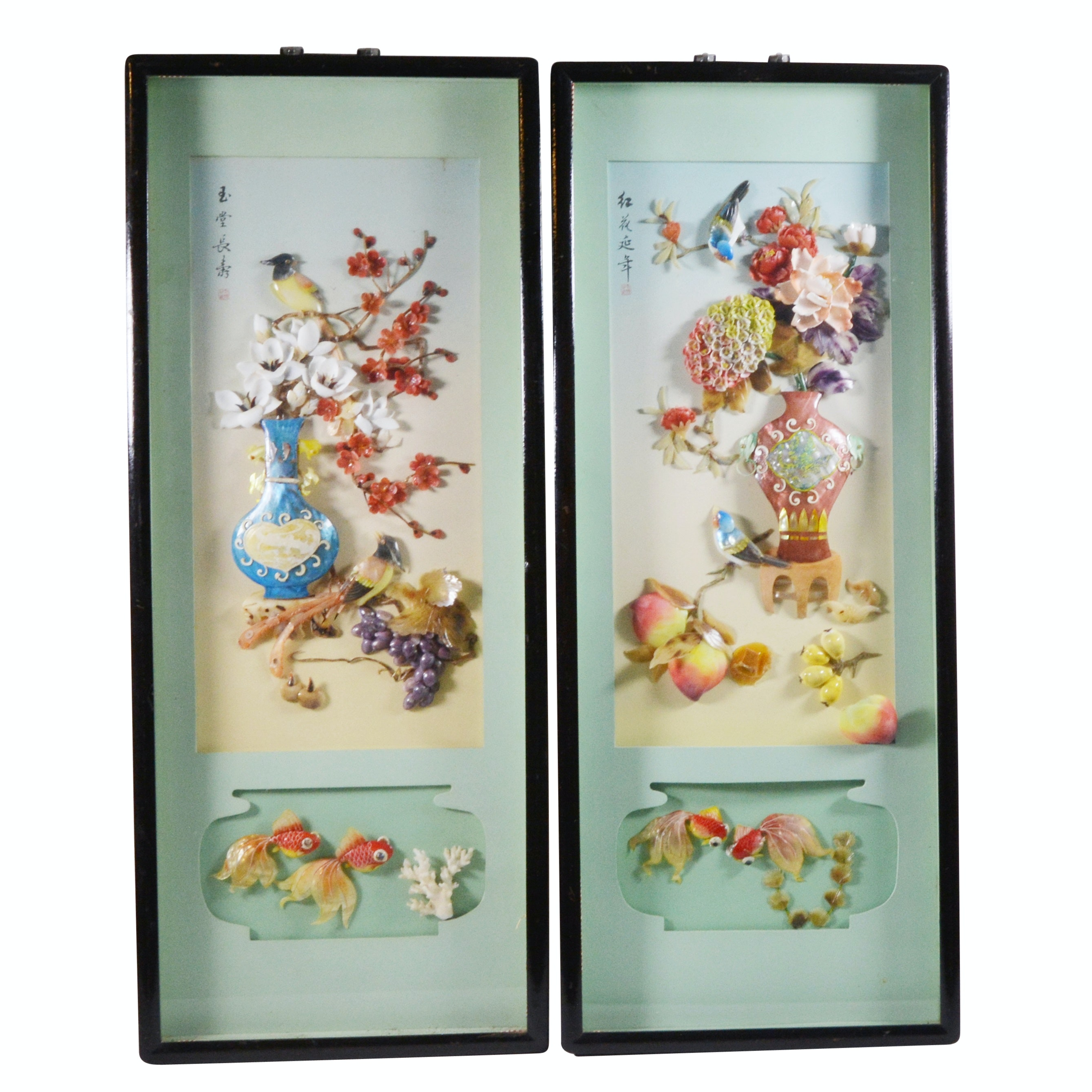 Chinese Hardstone Relief Shadowbox Collages