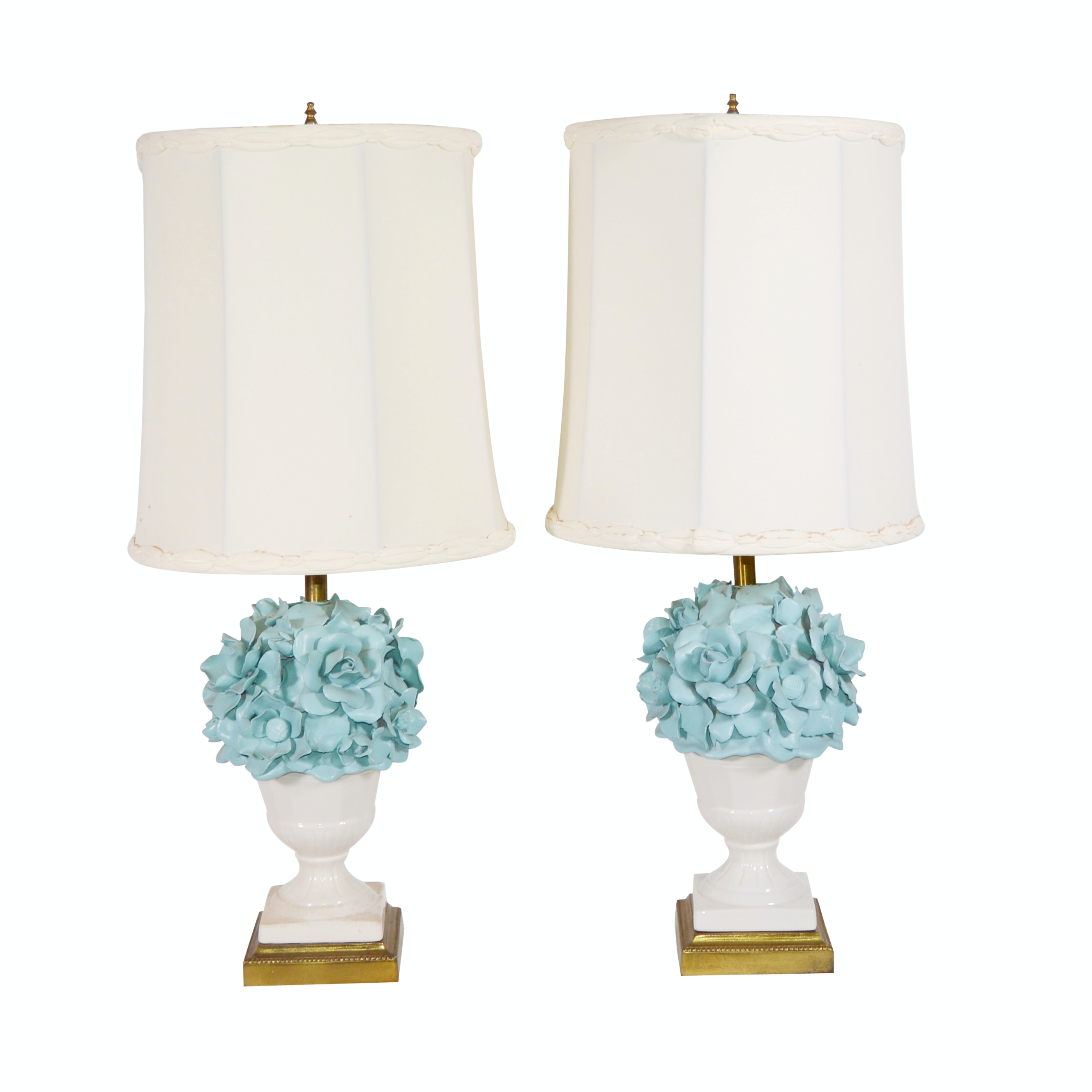 Floral Porcelain Urn Table Lamps