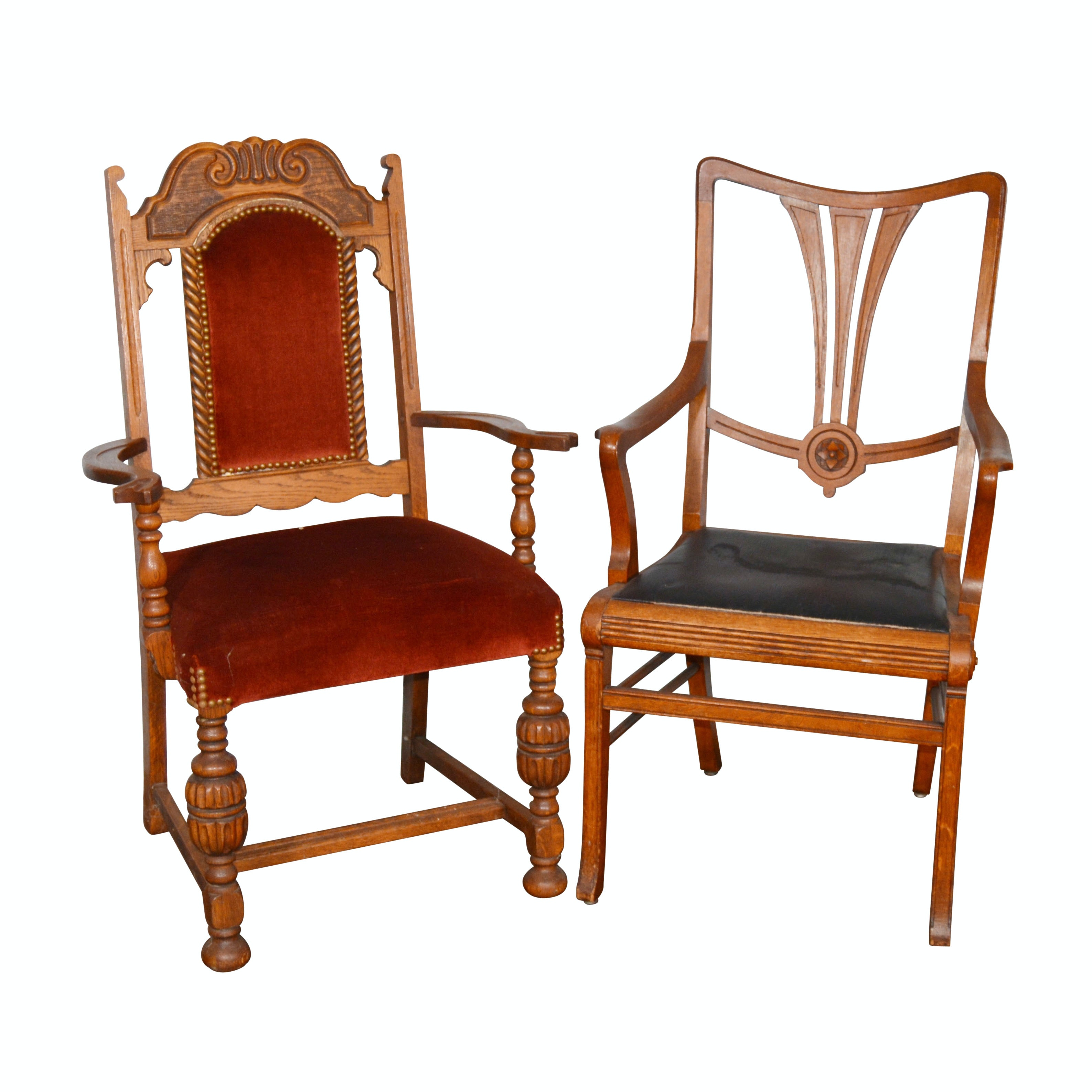 Two Oak Chairs, Late 19th Century/Early 20th Century