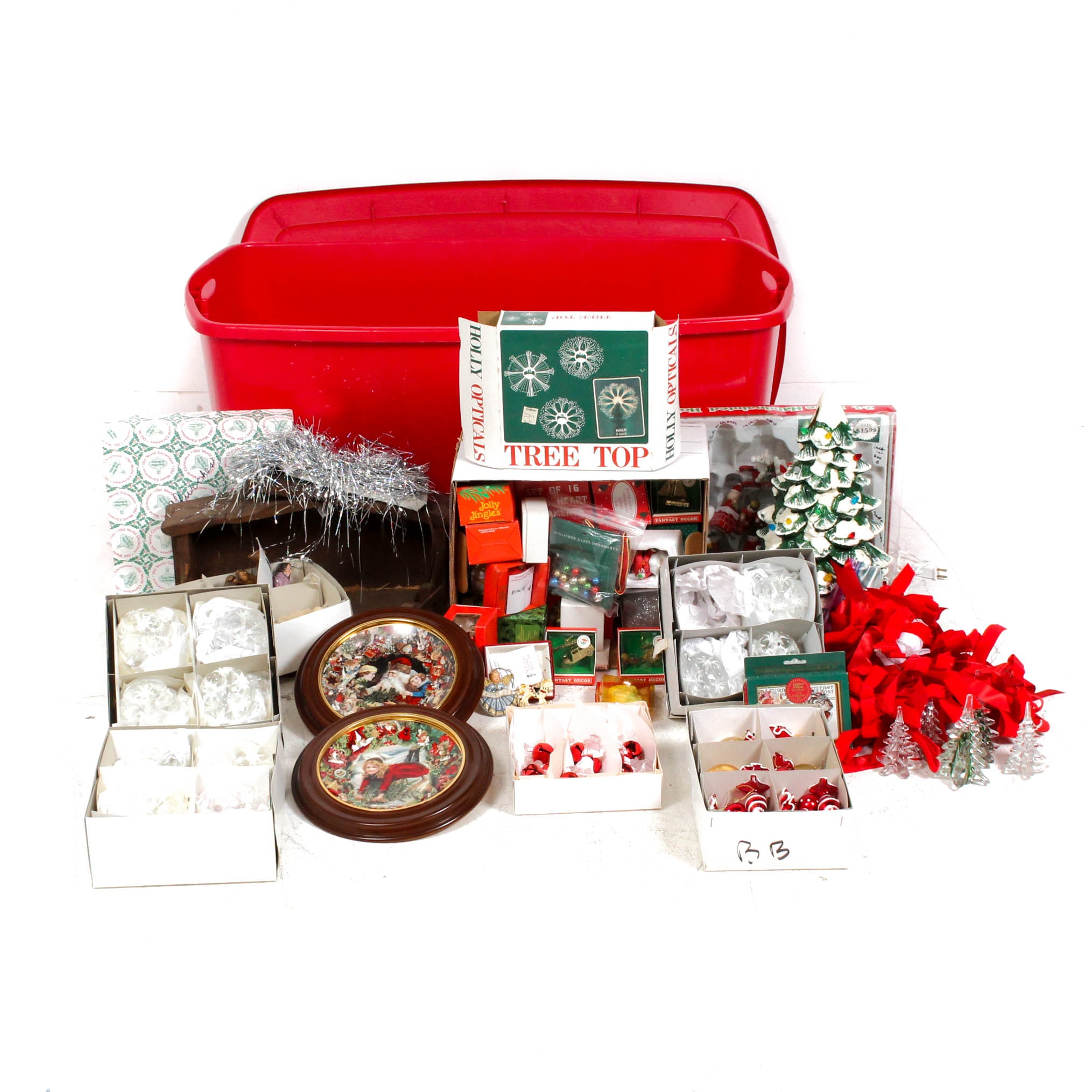Christmas Decor Featuring Nativity, Ornaments and Storage Bin