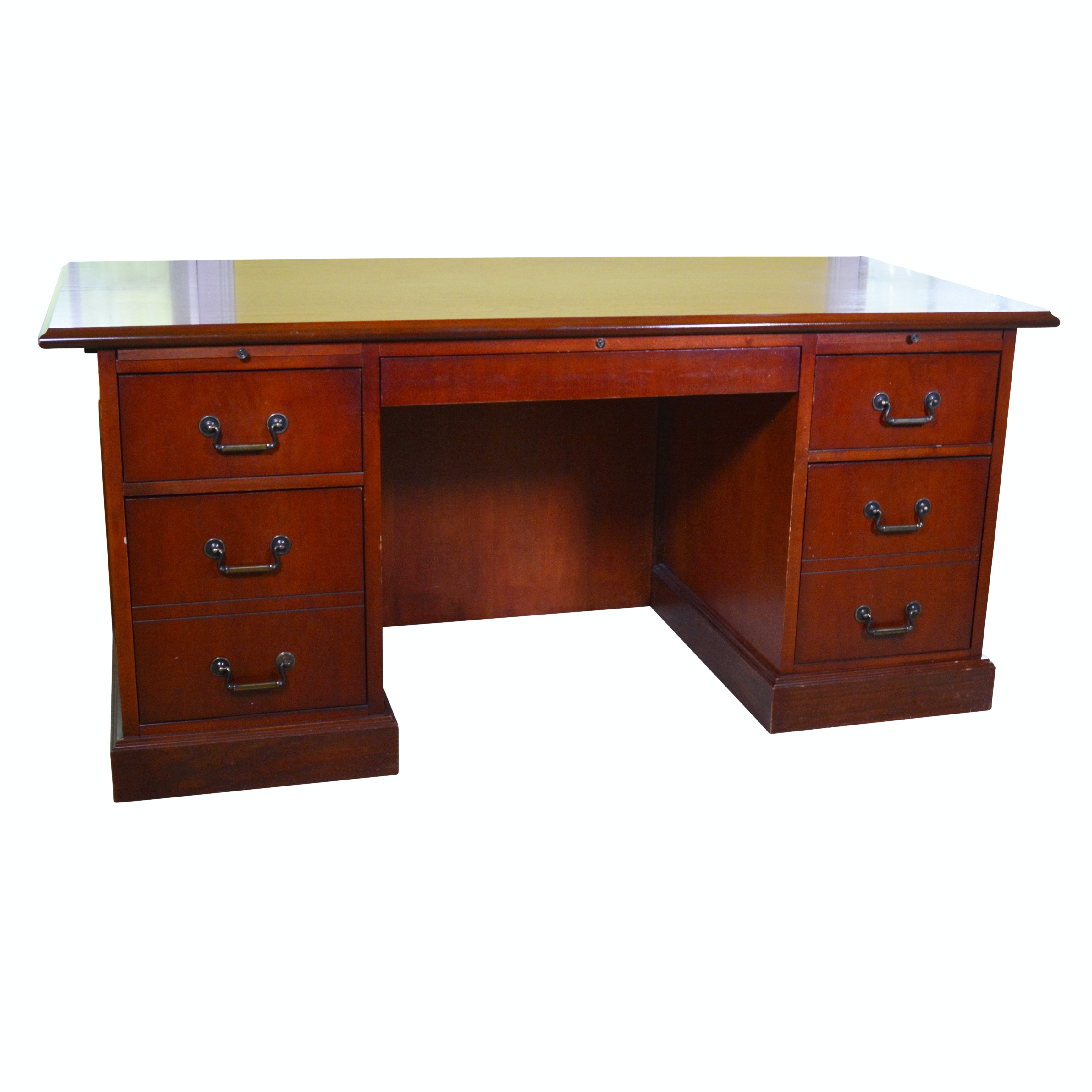 Federal Style Mahogany Finish Executive Desk by Carrico, 20th Century