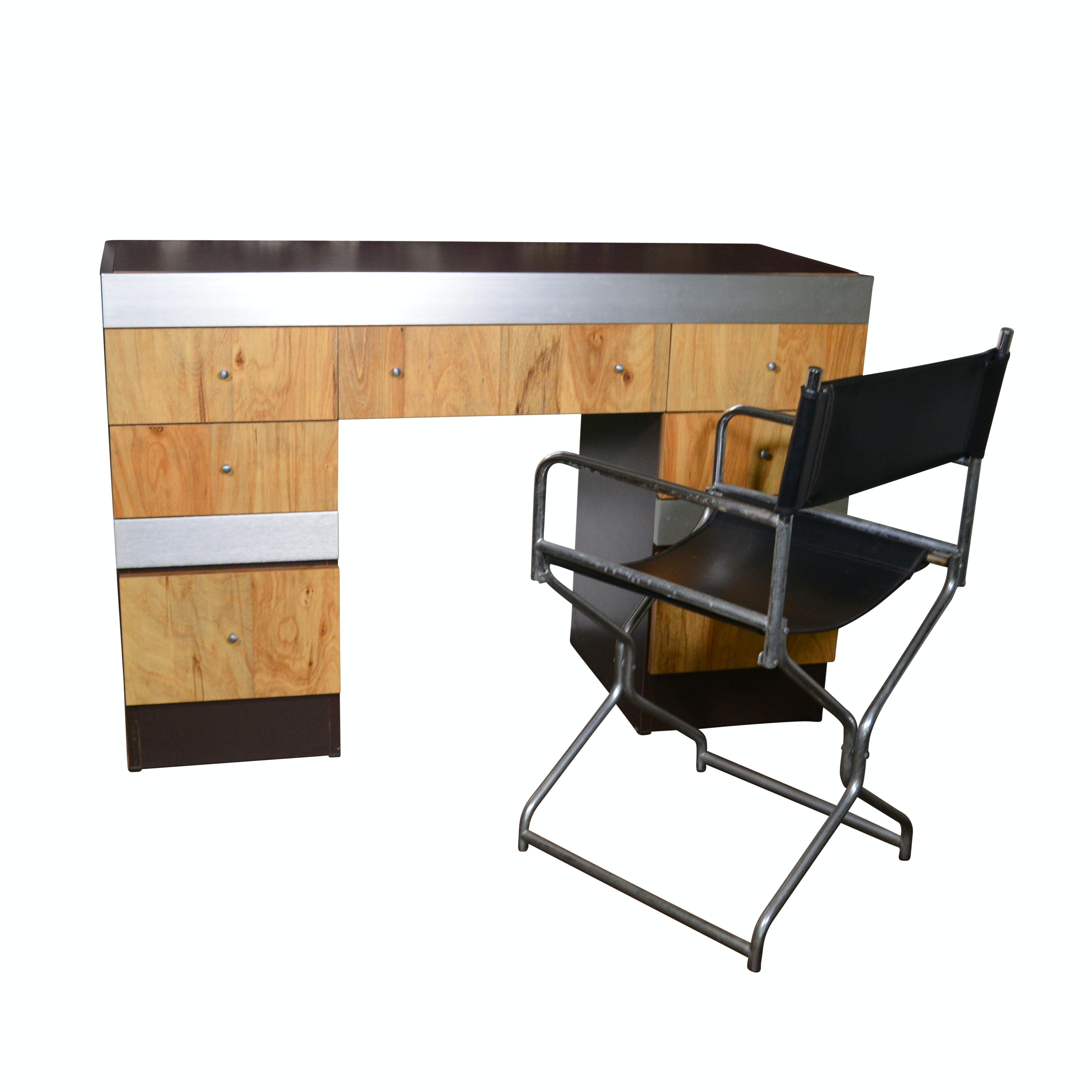 Contemporary Figured Birch and Metal Desk and Director's Chair, 20th Century