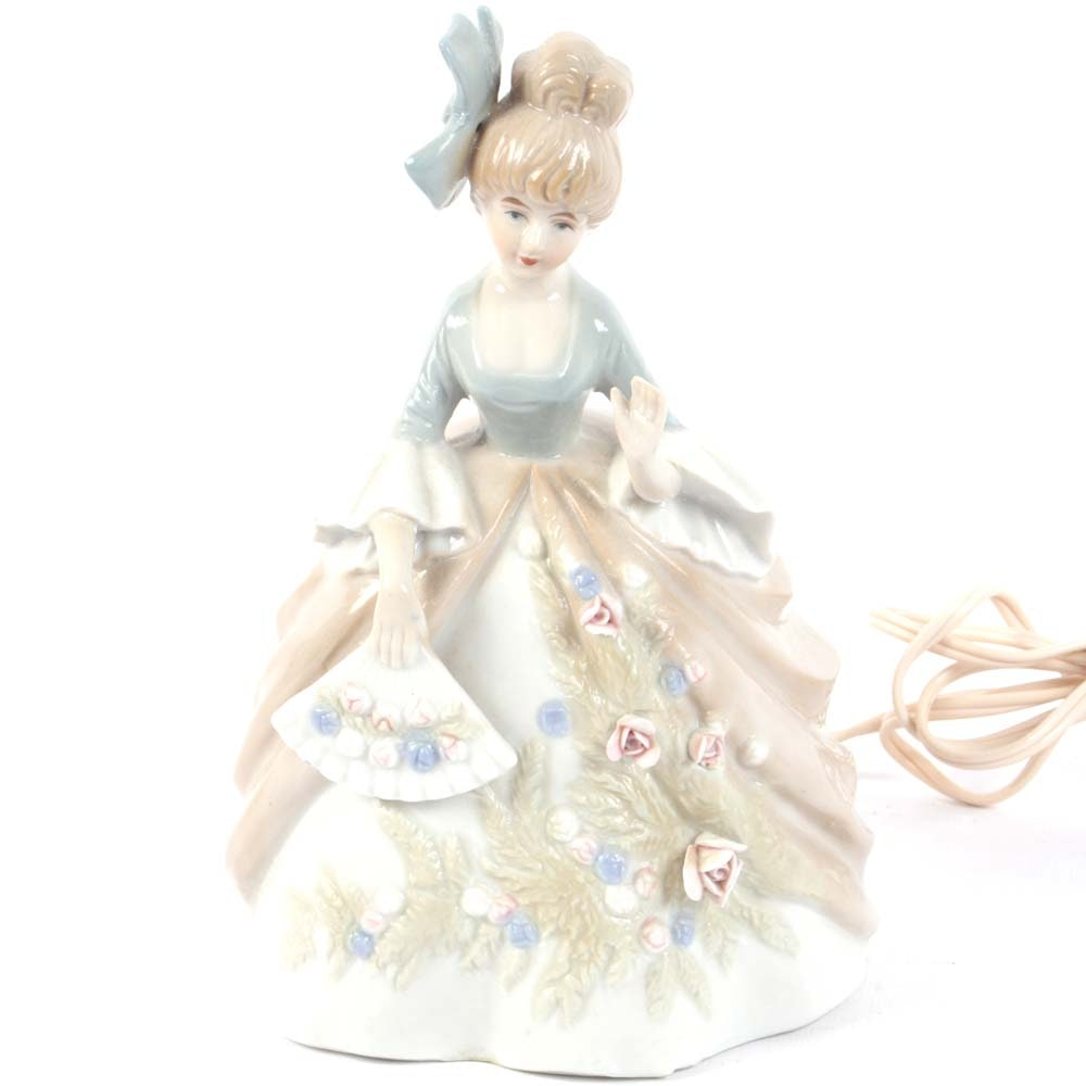 Figurine of a Lady in Early 19th Century Dress Porcelain Nightlight