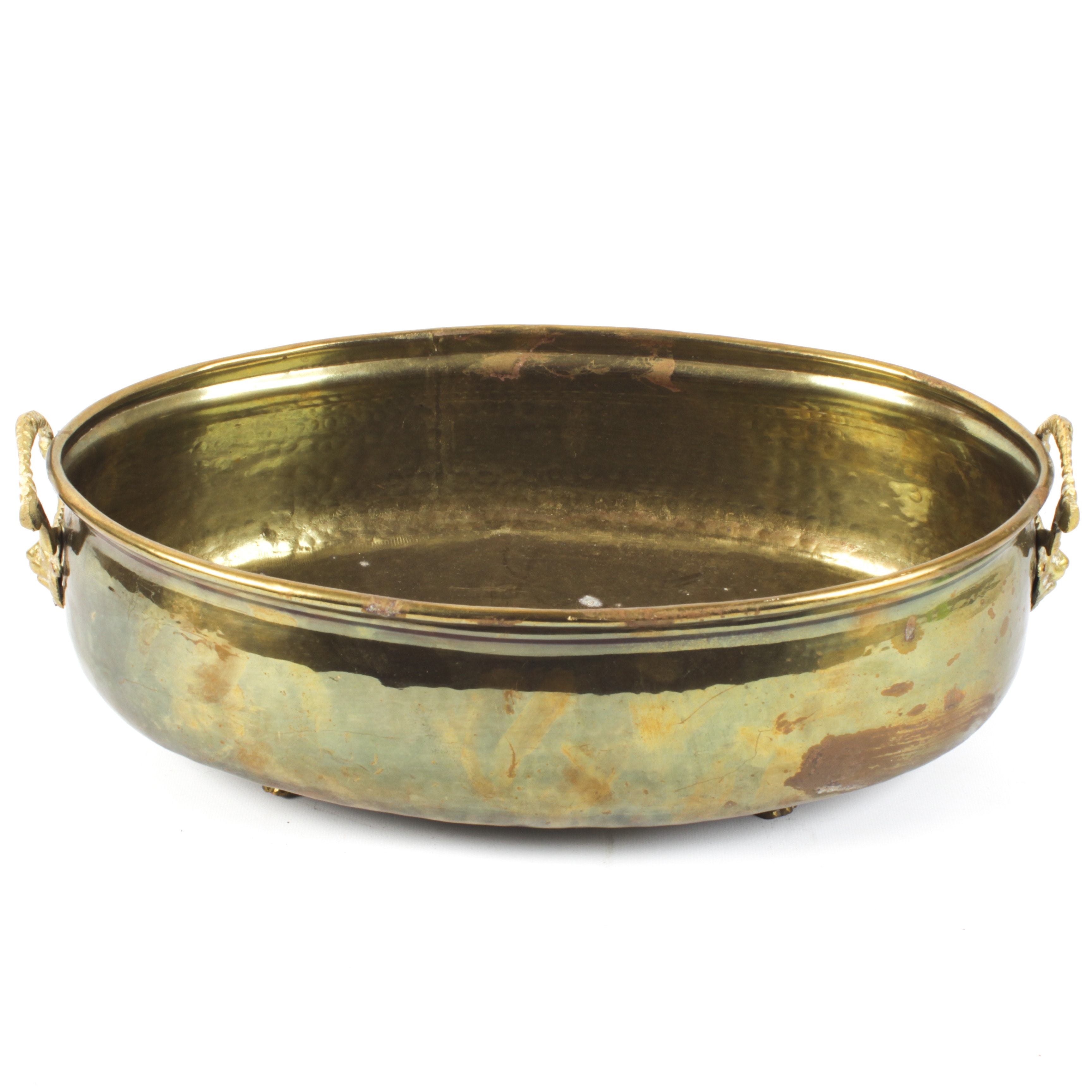 Plannished Plated Brass Footed Planter