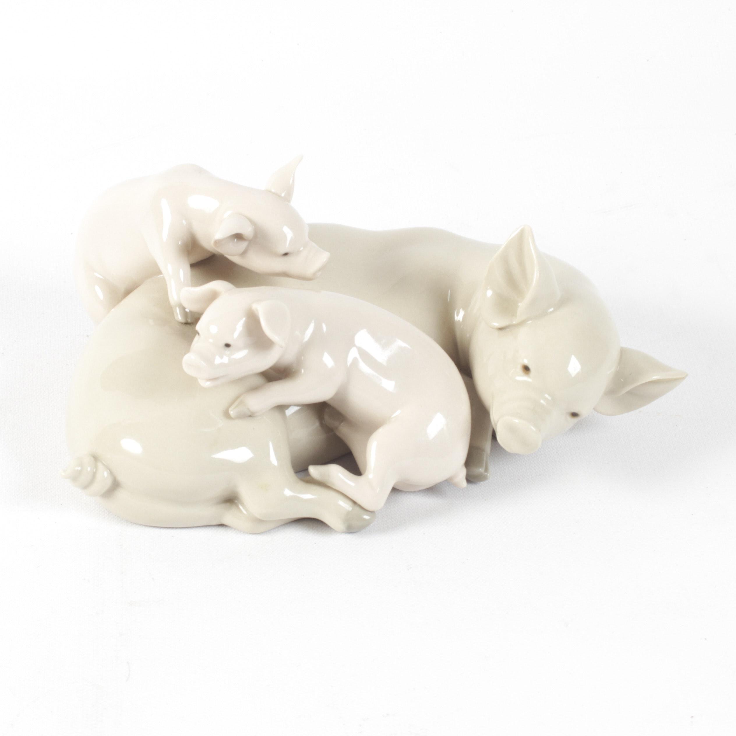 """Lladró """"Playful Piglets"""" Porcelain Figurine"""