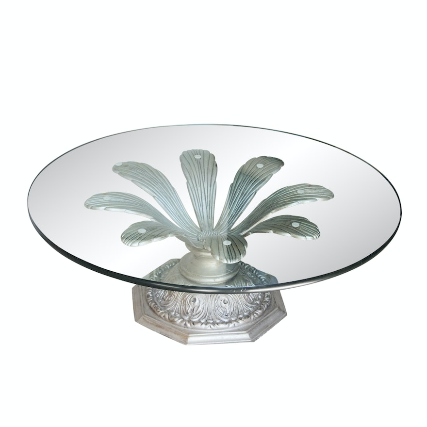 Contemporary Glass and Metal Coffee Table