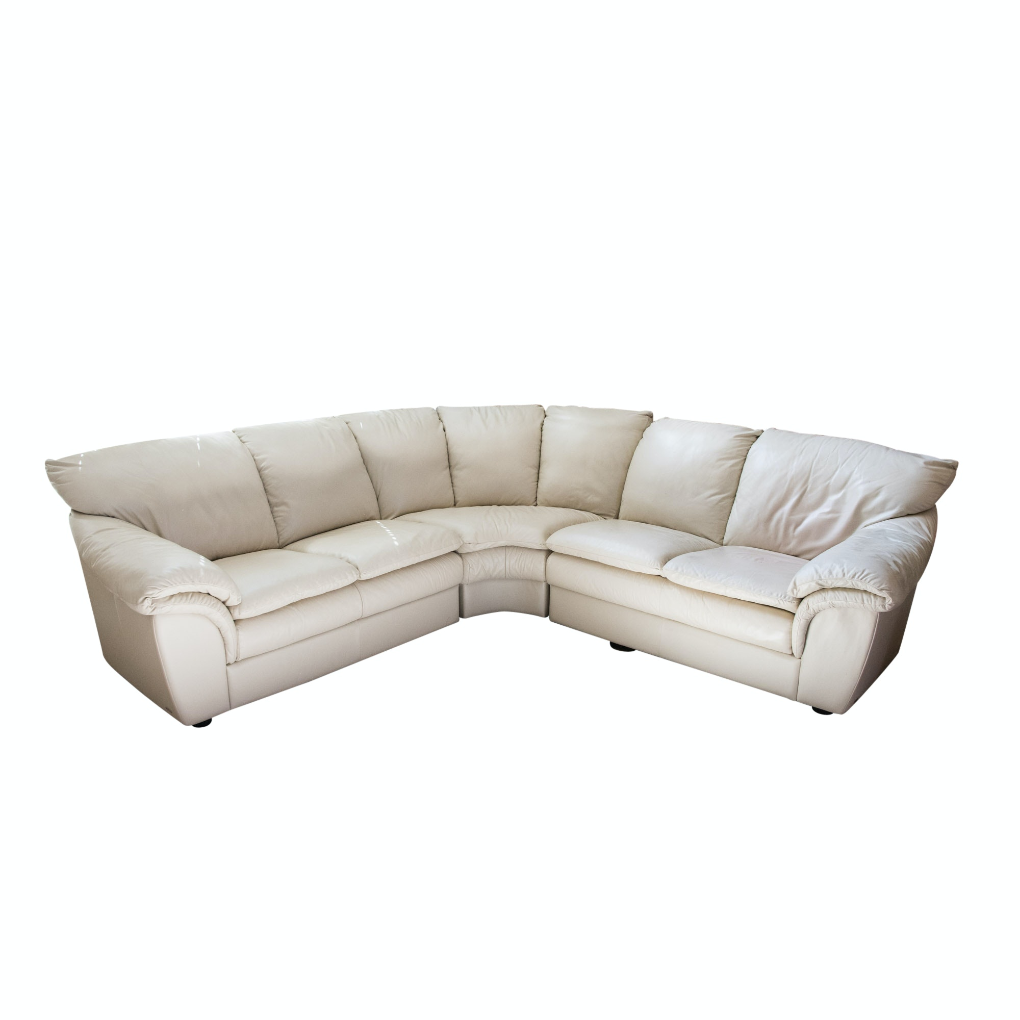 Contemporary Beige Leather Sectional Sofa by Natuzzi