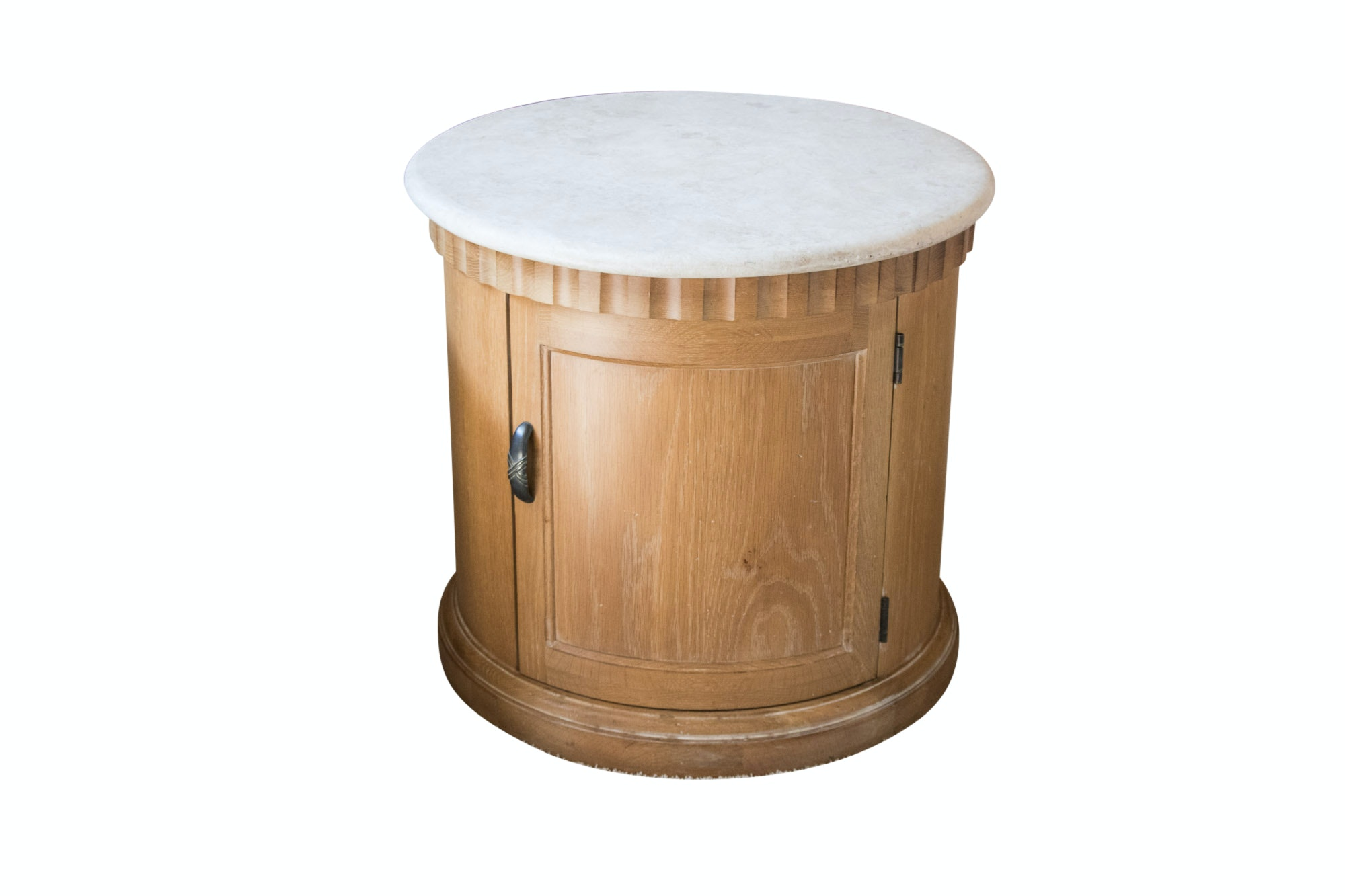 Contemporary Oak and Stone Round Table