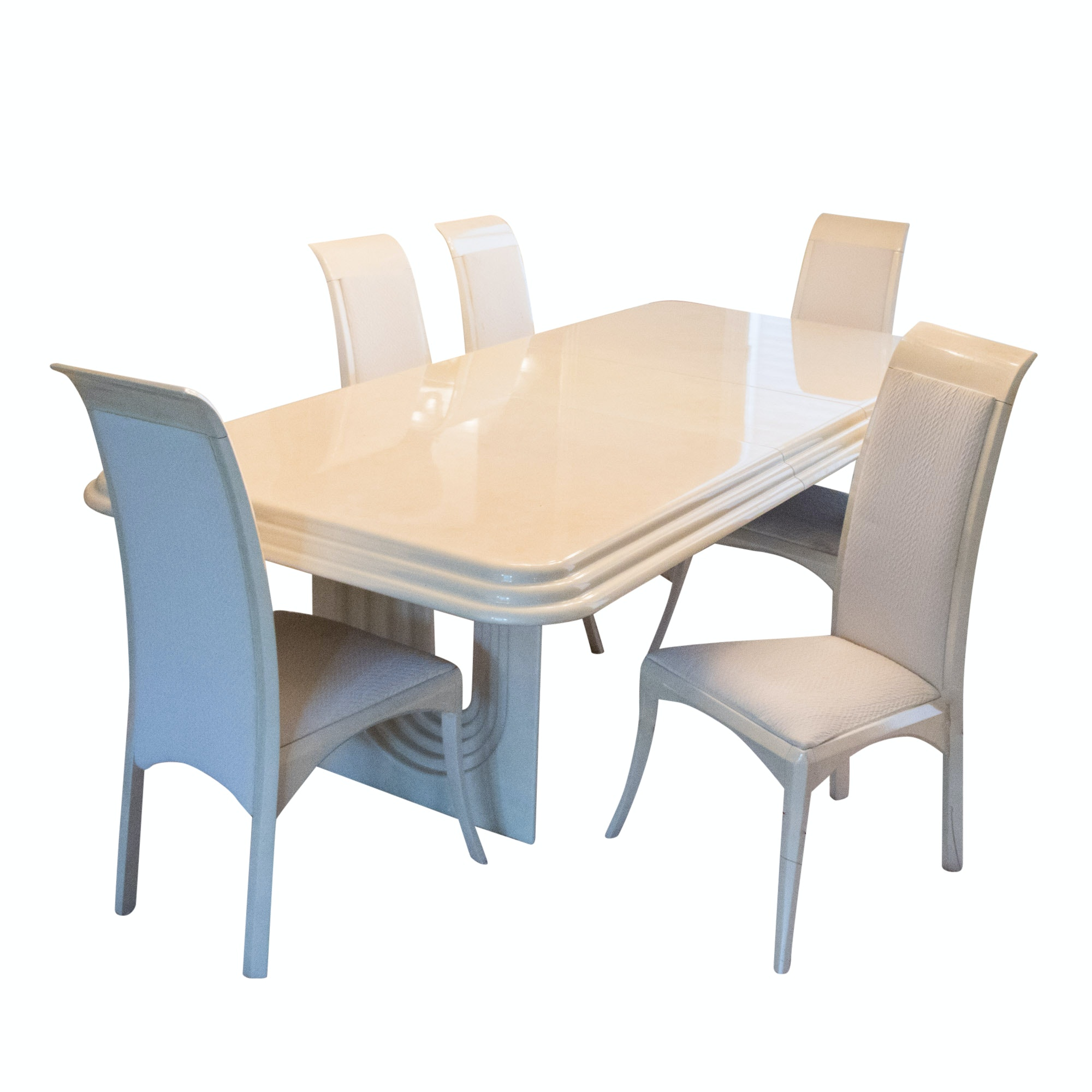 Art Deco Style Dining Table and Chairs by Elkin's Furniture, Late 20th Century