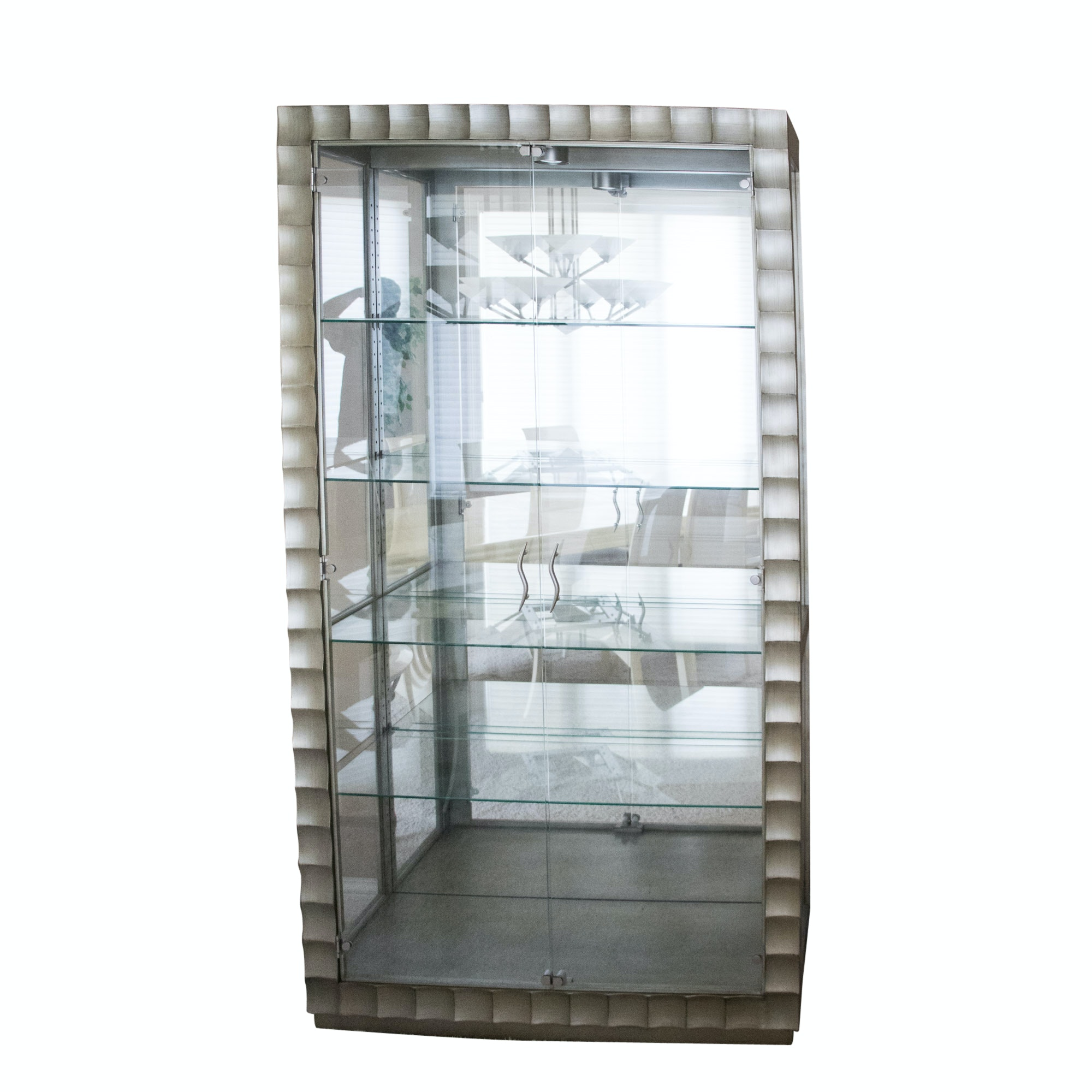 Contemporary Brushed Metal Illuminated China Cabinet