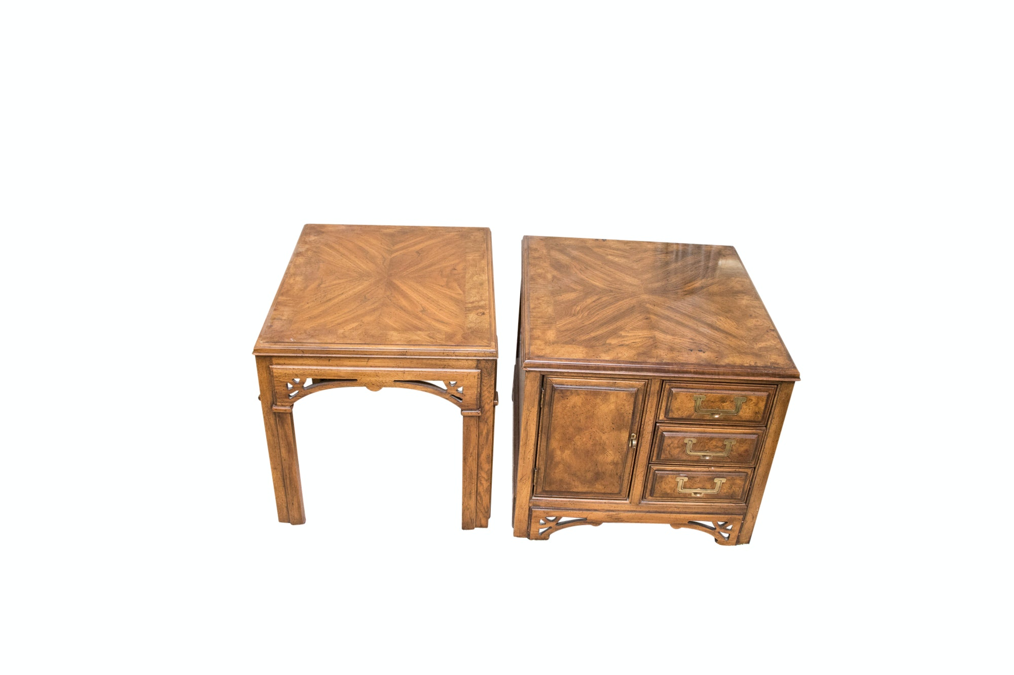 Chinese Chippendale Style Walnut Nightstand and Side Table, Late 20th Century