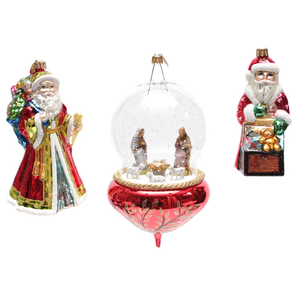 """Christopher Ornaments with Large """"Nativity Snowfall"""""""