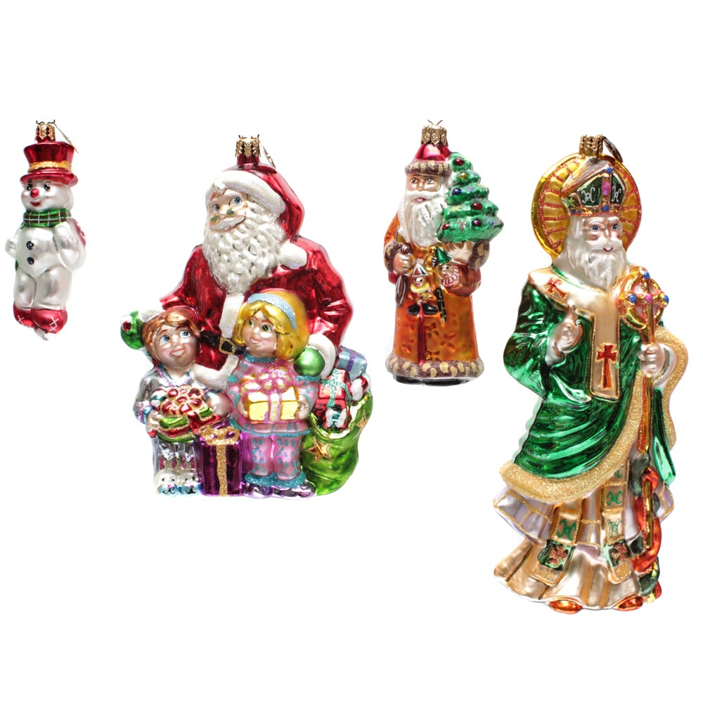 "Christopher Radko Ornaments with Large ""Santa's Visit"" and ""Santa of Erin"""