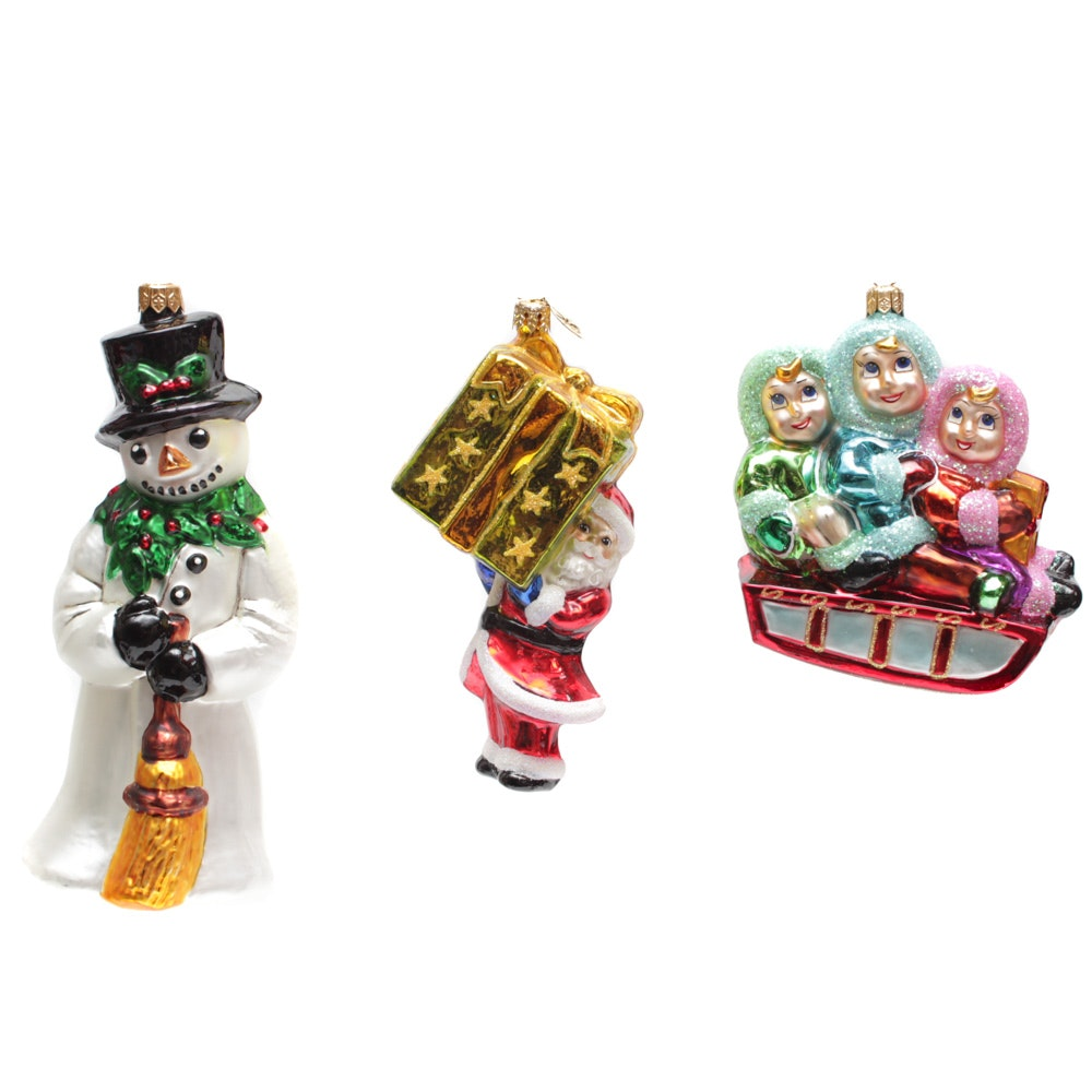 """Christopher Radko Ornaments with """"Holly Jolly"""""""