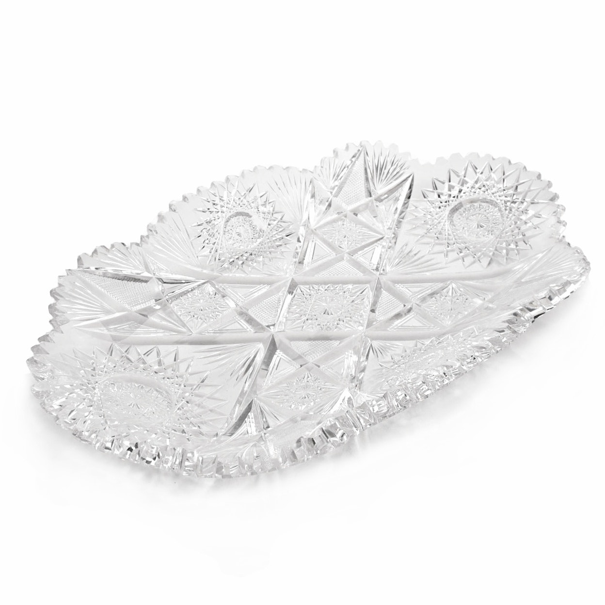 Antique Cut Crystal Serving Dish