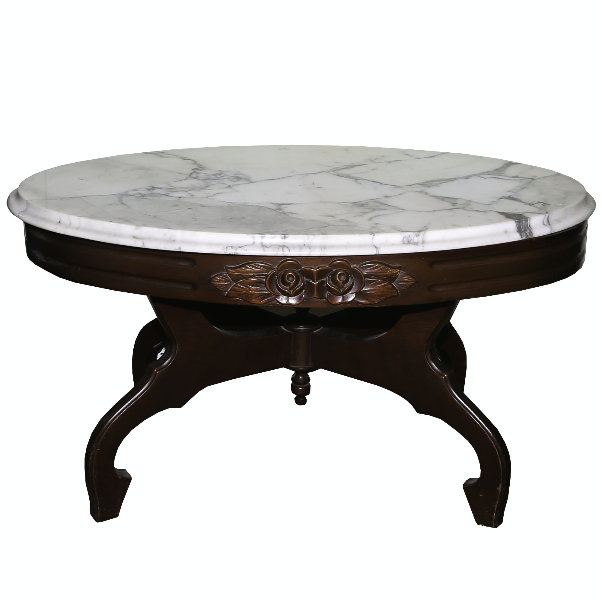 Victorian Style Marble Top Mahogany Coffee Table, Mid-20th Century