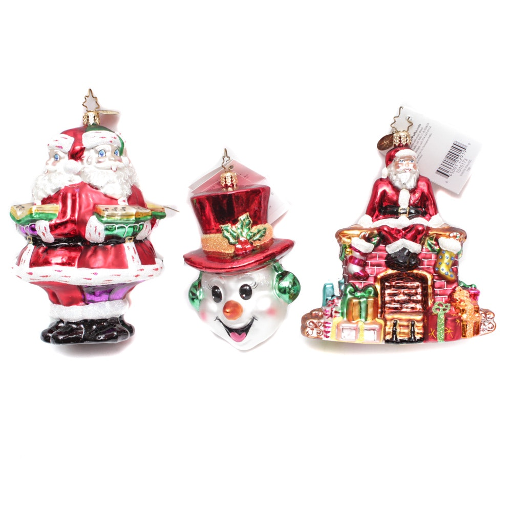 """Christopher Radko Ornaments with Large """"Kringle Carolers"""" and """"Santa Pause"""""""