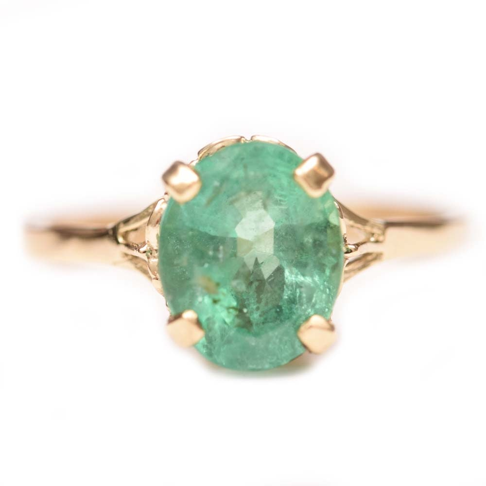 14K Yellow Gold and 2.23 CT Emerald Ring