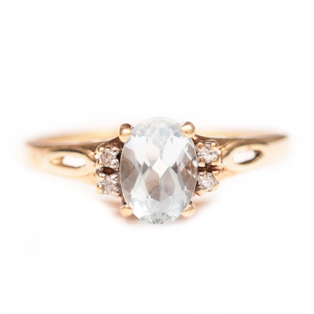 10K Yellow Gold, Aquamarine and Diamond Ring