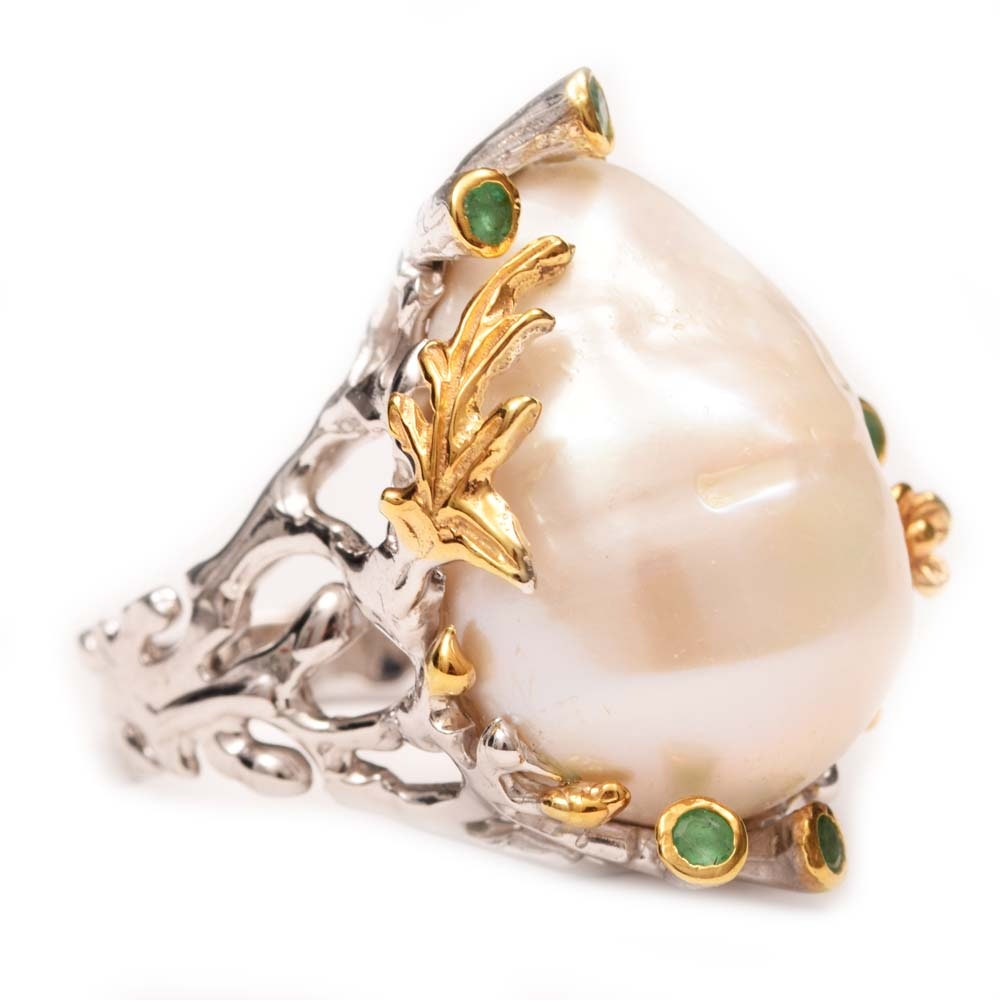 Sterling Silver, Freshwater Pearl and Emerald Ring