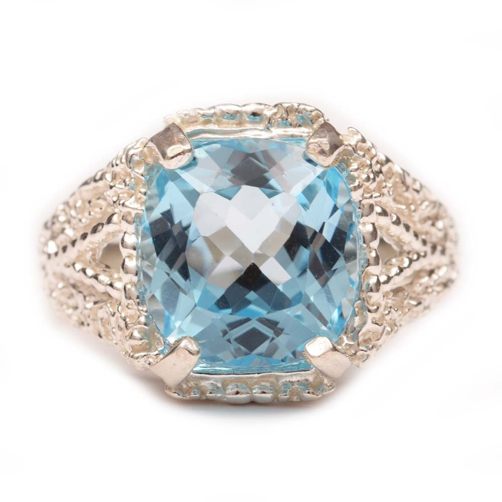 Sterling Silver and 11.12 CT Blue Topaz Ring