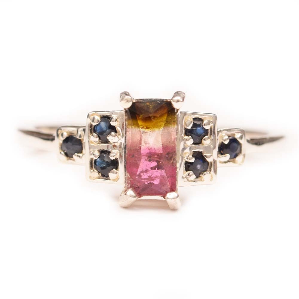 Sterling Silver, Tourmaline and Sapphire Ring