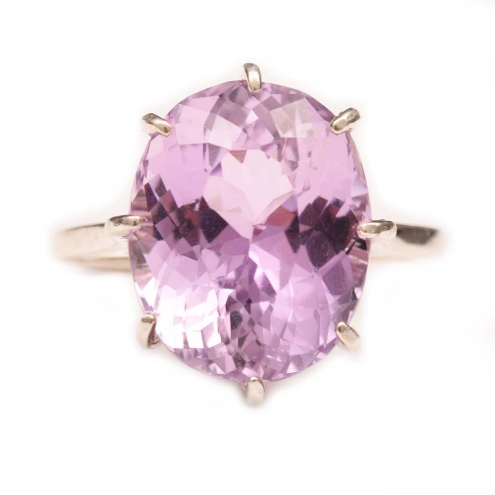 Sterling Silver and 10.70 CT Kunzite Ring