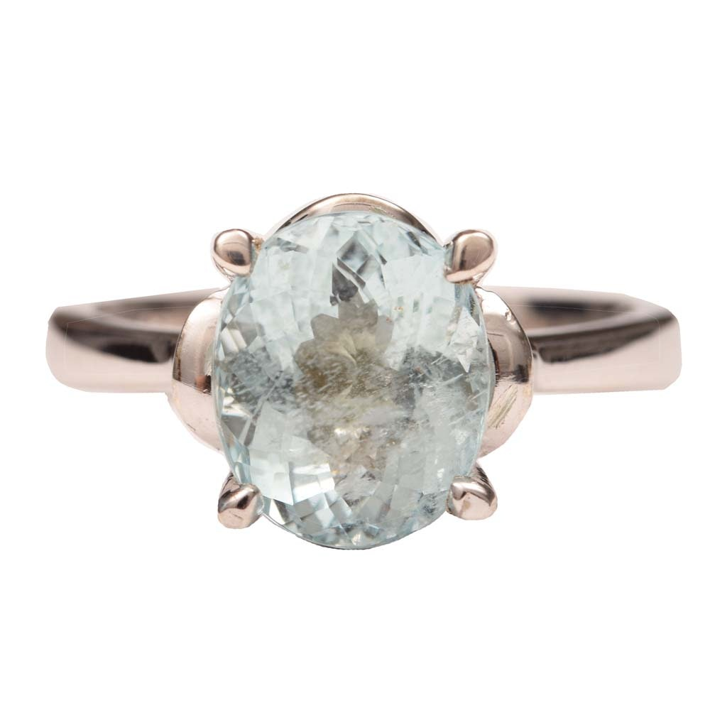 Sterling Silver and 3.16 CT Aquamarine Ring