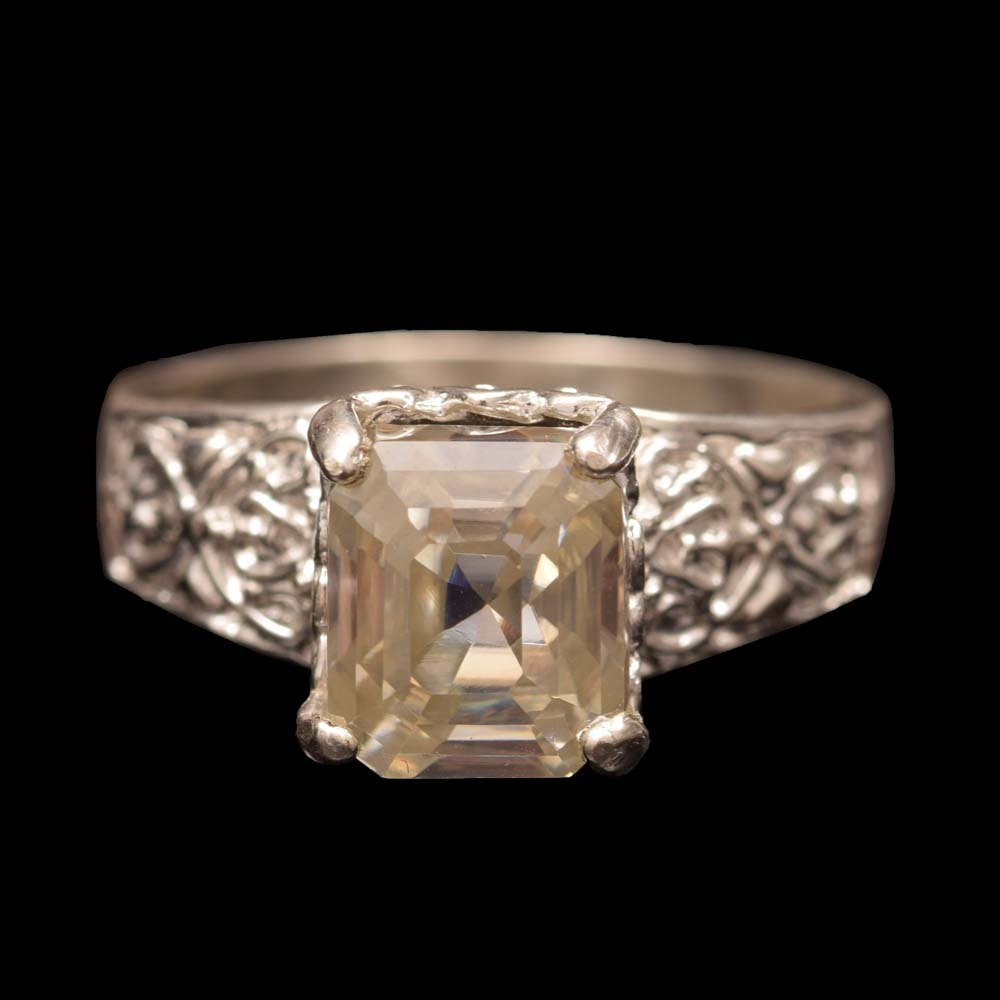 Sterling Silver and Moissanite Ring