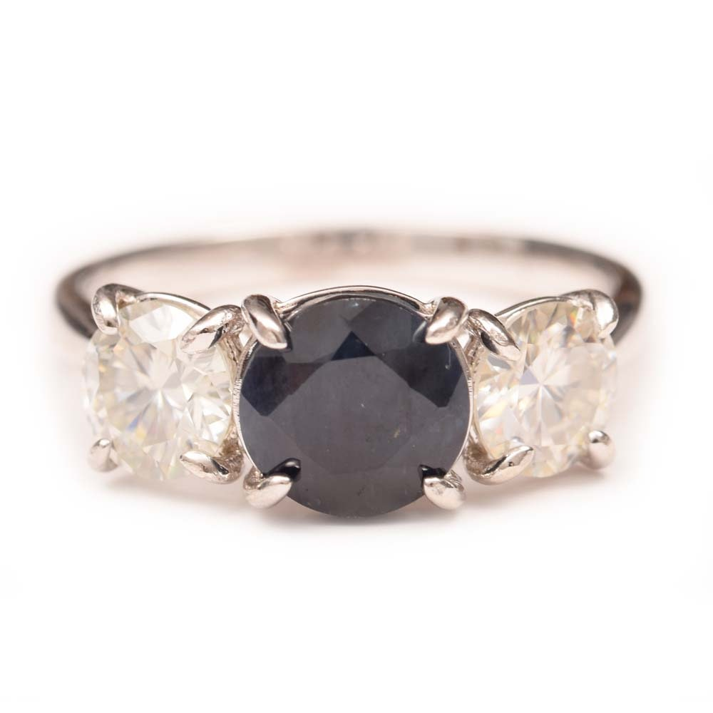 Sterling Silver, 1.60 CT Sapphire and Moissanite Ring
