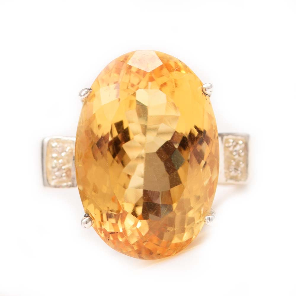 Sterling Silver, 17.80 CT Citrine and Cubic Zirconia Ring