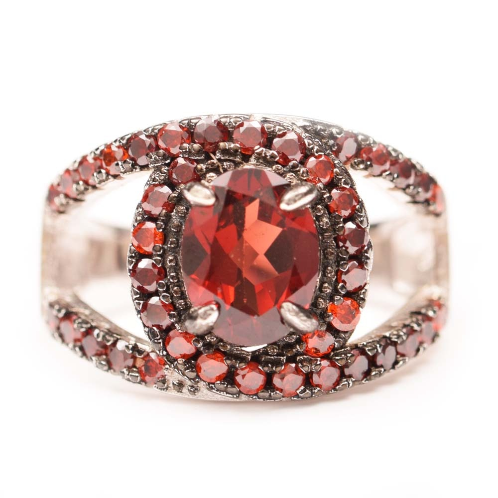 Sterling Silver and 3.32 CTW Garnet Ring