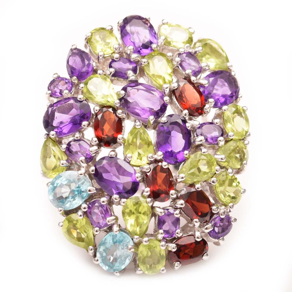 Sterling Silver, 6.62 CTW Amethyst and Multicolor Gemstone Cocktail Ring
