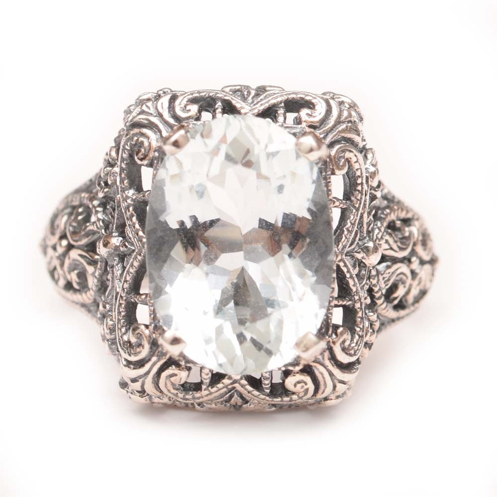 Sterling Silver and 4.02 CT Aquamarine Filigree Ring
