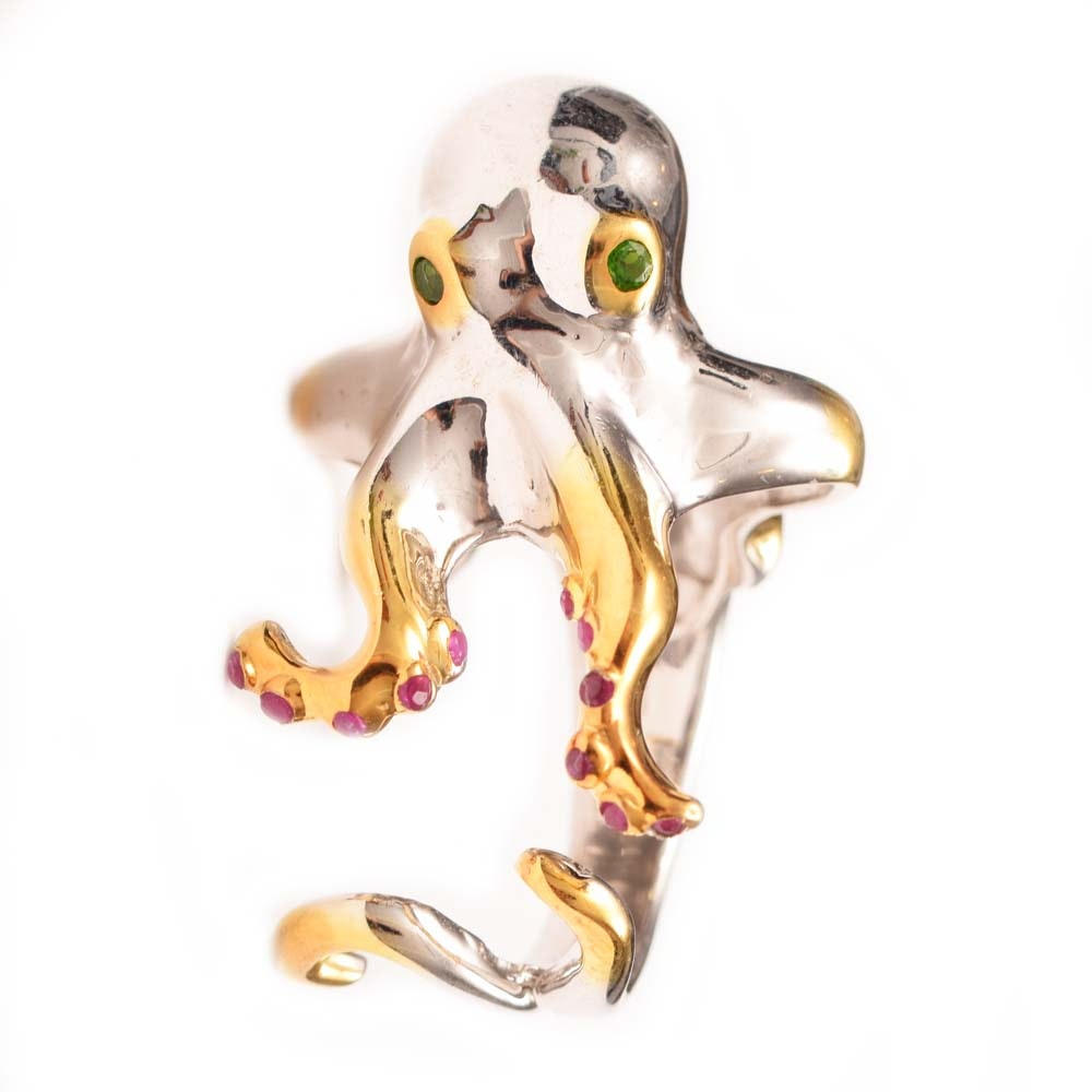 Sterling Silver, Ruby and Diopside Octopus Ring