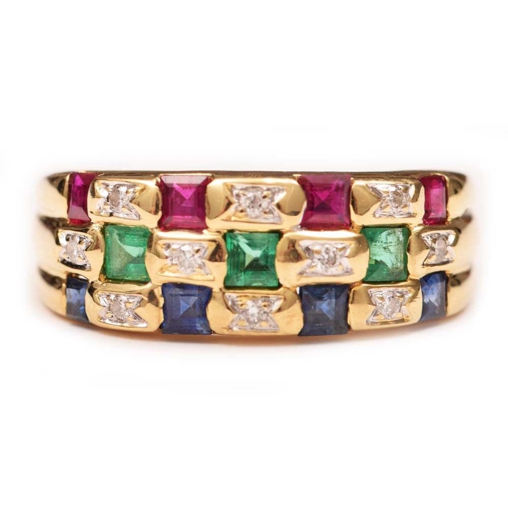 Le Vian 18K Yellow Gold, Diamond, Ruby, Sapphire and Emerald Ring