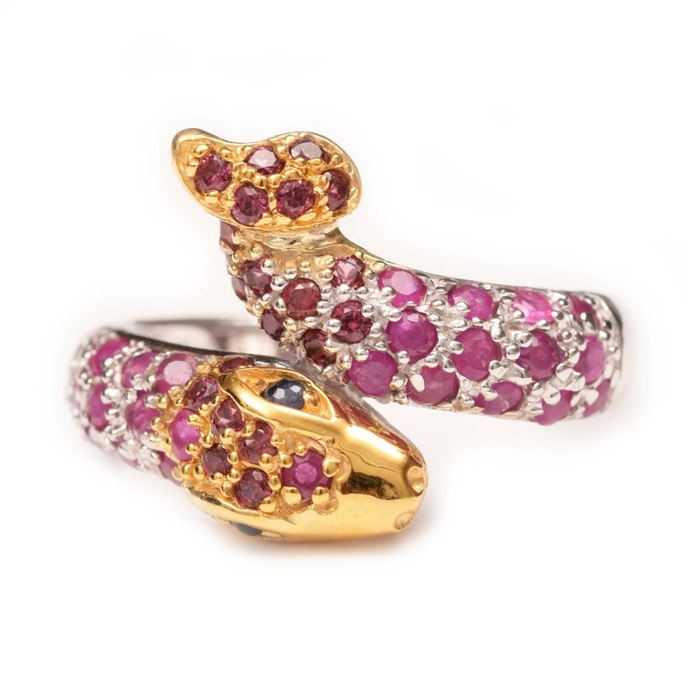 Sterling Silver, 1.04 CTW Ruby, Garnet and Sapphire Snake Bypass Ring