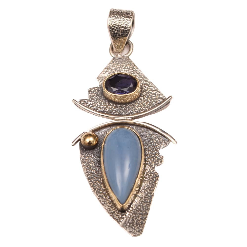 Sterling Silver, Blue Opal and Iolite Pendant
