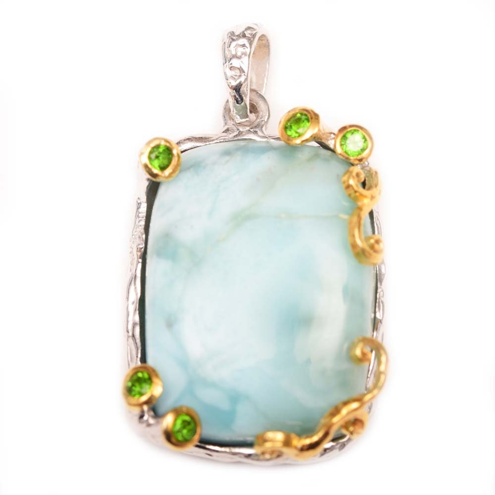 Sterling Silver With Gold Wash, Larimar and Chrome Diopside Pendant