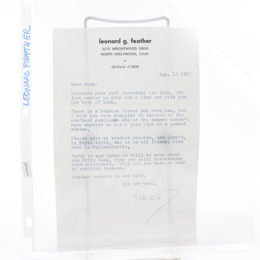 Signed Personal Letter from Jazz Composer Leonard G. Feather to Jack Bradley